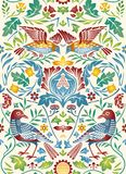 Vintage flowers and birds seamless pattern on light background. Color vector illustration. stock photos