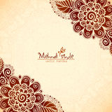 Vintage flowers ethnic background in Indian mehndi Stock Photo