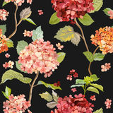 Vintage Flowers - Floral Hortensia Background - Seamless Pattern Royalty Free Stock Photo