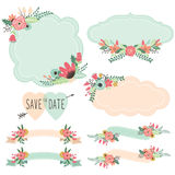 Vintage Flowers Frames and Banners Set Stock Image