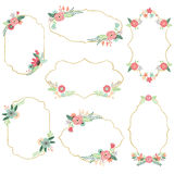 Vintage Flowers Frames and Banners Set Stock Photo