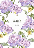 Vintage flowers in garden with heart and floral background Royalty Free Stock Image