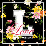 Vintage Flowers Graphic Design - Colorful Lilies. For T-shirt, Fashion, Prints - in vector Royalty Free Stock Images