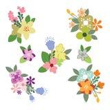 Vintage Flowers Illustration - Set. Vector floral vintage illustration Royalty Free Stock Image