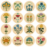 Vintage Flowers Label Set Stock Photos