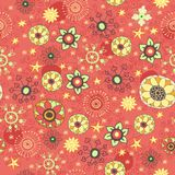 Vintage flowers and leaves. Seamless with flowers, Stock Photo