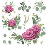 Vintage flowers of moody blue lavender purple pink rose, silver Royalty Free Stock Photo