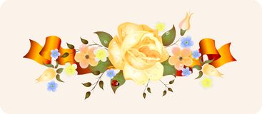 Vintage flowers with ribbon Royalty Free Stock Photo