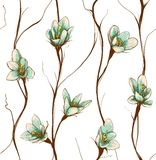 Vintage Flowers Seamless Pattern Background Stock Photos