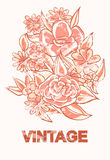 Vintage flowers in sepia with abrasions Royalty Free Stock Photo