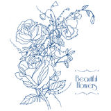 Vintage flowers sketch Stock Photography