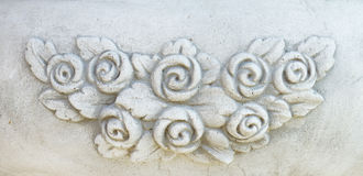 Vintage flowers stone carving Stock Images
