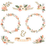 Vintage Flowers Wreath Collections Royalty Free Stock Photos