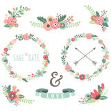 Vintage Flowers Wreath Elements Royalty Free Stock Image