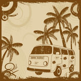 Vintage flyer with old fashion bus and palms Stock Image