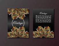 Vintage Flyer template with abstract ornament pattern. Vector greeting card design. Front page and back page Royalty Free Stock Image