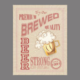 Vintage flyer or template for beer bar. Royalty Free Stock Images