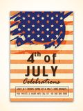 Vintage Flyer, Template for 4th of July. Vintage Flyer, Template or Banner design for 4th of July, American Independence Day celebration Royalty Free Stock Image
