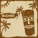 Vintage  flyer with tiki and palms Royalty Free Stock Photography