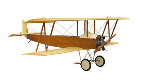 Vintage flying machine isolated. Early vintage biplane flying machine.  Isolated on white Stock Image