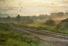 Vintage foggy landscape stock images
