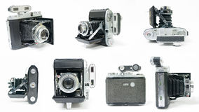 Vintage Folding Camera Montage Collage. Seven different angles of view of an old vintage folding medium format camera with a rangefinder attached. Crop out the Stock Image