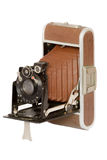 Vintage folding collapsible pocket camera Royalty Free Stock Photos