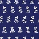 Vintage folk flowers white on blue vector repeat stock illustration