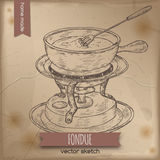 Vintage fondue chafing stand vector sketch on old paper background. Stock Photo