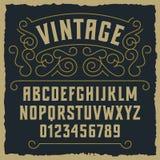 Vintage font 001. Vintage decorative font / Sample design with decorative and grunge elements Stock Photo