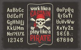 Vintage font of letters and numbers with a frame and a pirate skull. Vector illustration of a vintage Latin alphabet alphabet of letters and numbers with a frame vector illustration