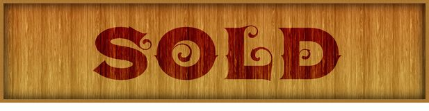 Vintage font text SOLD on square wood panel background. Illustration Stock Photo