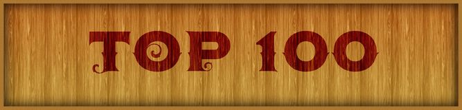 Vintage font text TOP 100 on square wood panel background. Illustration stock illustration