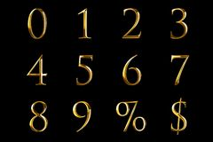 Vintage font yellow gold metallic numeric letters word text series with dollar, percent, symbol sign on black background, concept. Of golden luxury number vector illustration