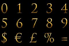 Vintage font yellow gold metallic numeric letters word text series with euro, dollar, percent, equal, sterling, symbol sign on bla Royalty Free Stock Images