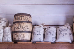 Vintage food bags on display. Stock Photos