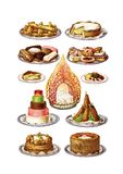 Vintage food cakes clip art set. Images vector illustration