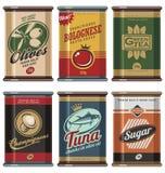 Vintage food can  collection. Retro food cans design template creative concept. Vintage food can  collection. No gradients, no transparencies, no drop shadow Stock Photos
