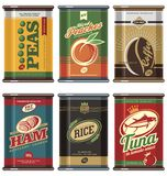 Vintage food cans. Retro food can  collection. No gradients, no transparencies, no drop shadow effects, only fill colors. Peas, coffee, peaches, ham, tuna Stock Image