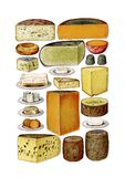 Vintage food cheese clip art set. Images vector illustration