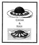 Vintage food delicacy, caviar with toasts and boiled eggs Stock Photos