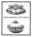 Vintage food delicacy, strawberries and ice cream. Vintage cuisine illustration collage,delicious  strawberries with wipped cream and ice cream sundae Royalty Free Stock Photo