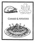 Vintage food and kitchen, poultry cuts and roasted canard with potatoes Royalty Free Stock Photo