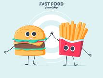Vintage food poster design with burger and fries character. Royalty Free Stock Image