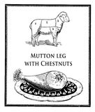 Vintage food, roasted mutton leg and mutton table with numbered. Vintage cuisine illustration collage, roasted mutton leg and animal diagram with numbered cuts Stock Photography