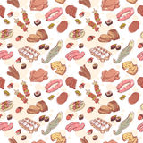 Vintage food set seamless pattern Royalty Free Stock Photo
