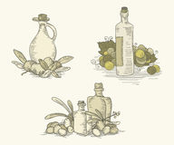 Vintage food sets with bottles. Illustration is monochromic on blend yellow background. Can be used as template for food labels. EPS 10.0. RGB. This Stock Photo