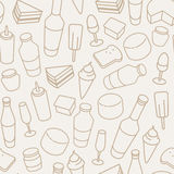 Vintage food thin line icon seamless pattern. Beer, wine bottle, cheese, ice-cream, toast, egg and cake icons Royalty Free Stock Images