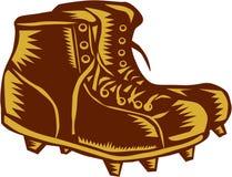 Vintage Football Boots Woodcut Royalty Free Stock Photos