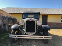 Model A 1930 Ford Coupe. A vintage Ford car model 1930 sitting in a yard in Gilbert Arizona Stock Image